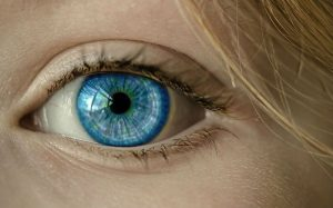 women with vibrant blue eyes